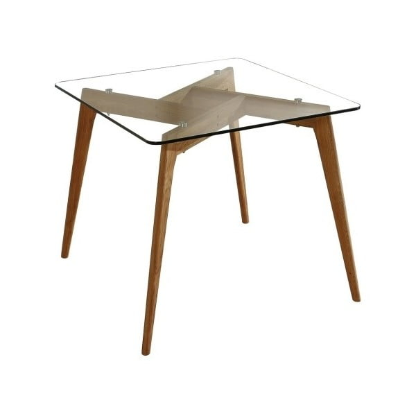 Štvorcový jedálenský stôl s hnedýma nohami Marckeric Janis, 90 × 90 cm