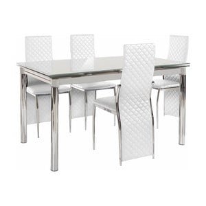 Set jedálenského stola a 4 bielych jedálenských stoličiek Støraa Pippa William Grey White
