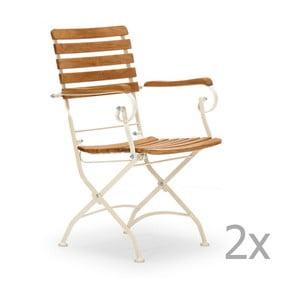 Sada 2 bielych záhradných stoličiek z agátového dreva s opierkami na ruky SOB