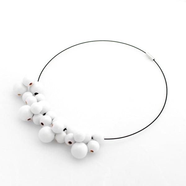 Biely drevený náhrdelník Ko–ra–leBubbles