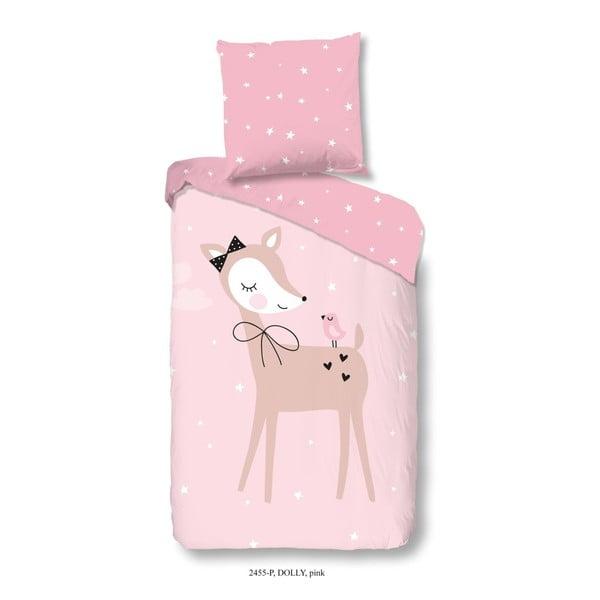 Detské bavlnené obliečky na jednolôžko Good Morning Dolly, 140 × 200 cm