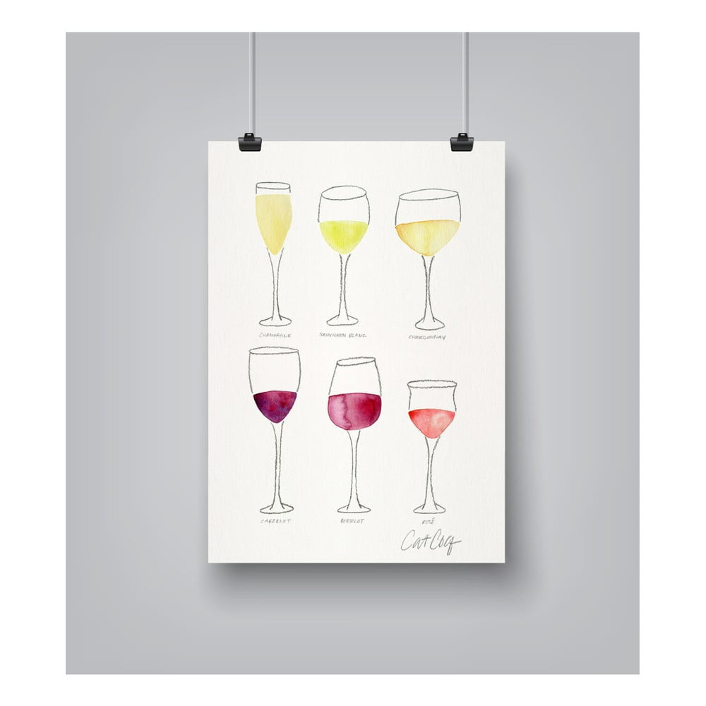 Plagát Americanflat Wine Glass Collection, 30 × 42 cm