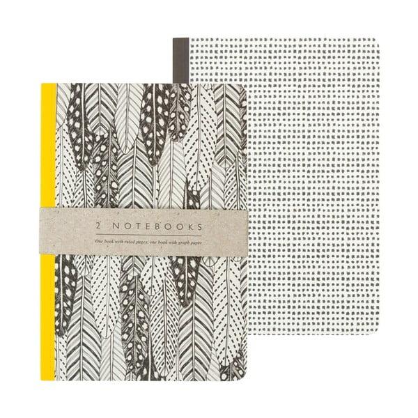 Sada 2 zápisníkov A5 Portico Designs Feathers, 50stránok