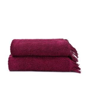Sada 2 vínových bavlnených uterákov Casa Di Bassi Face, 50x90 cm