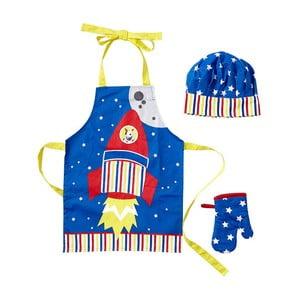 Detský set zástery, čapice a kuchynskej rukavice Rocket Ship
