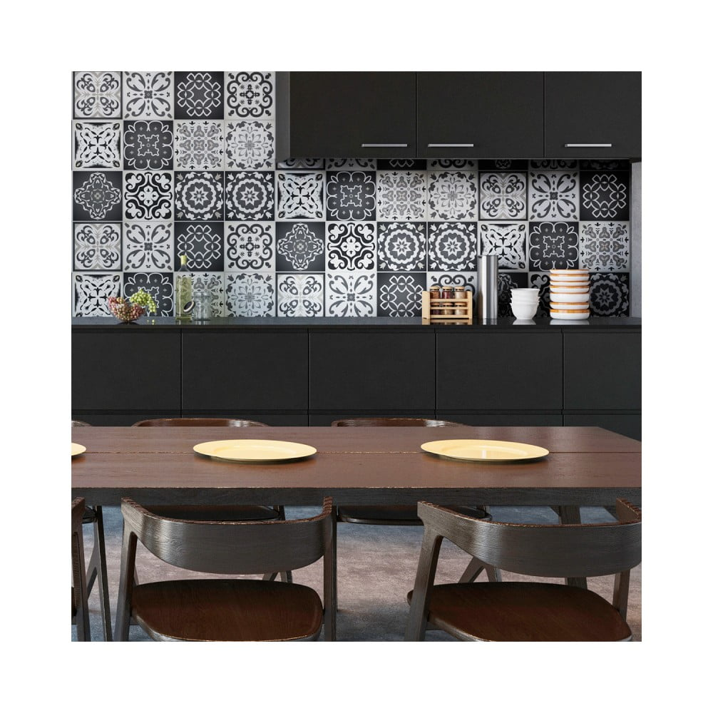 Sada 12 nástenných samolepiek Ambiance Wall Decals Tiles Gray Cement Rimini, 20 × 20 cm