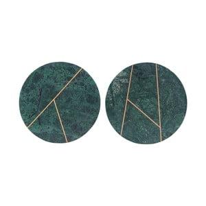 Sada 2 zelených mramorových tácok House Doctor Latpe, 18 cm
