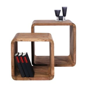 Sada 2 políc z dreva sheesham Kare Design Cuben Square