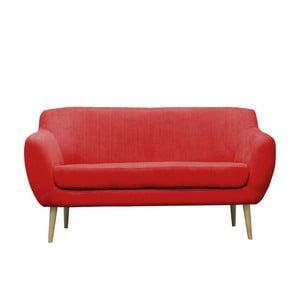 Červená pohovka pre troch Mazzini Sofas Sardaigne, svetlé nohy