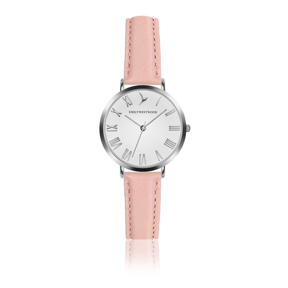 Dámske hodinky s ružovým remienkom z pravej kože Emily Westwood Pastel