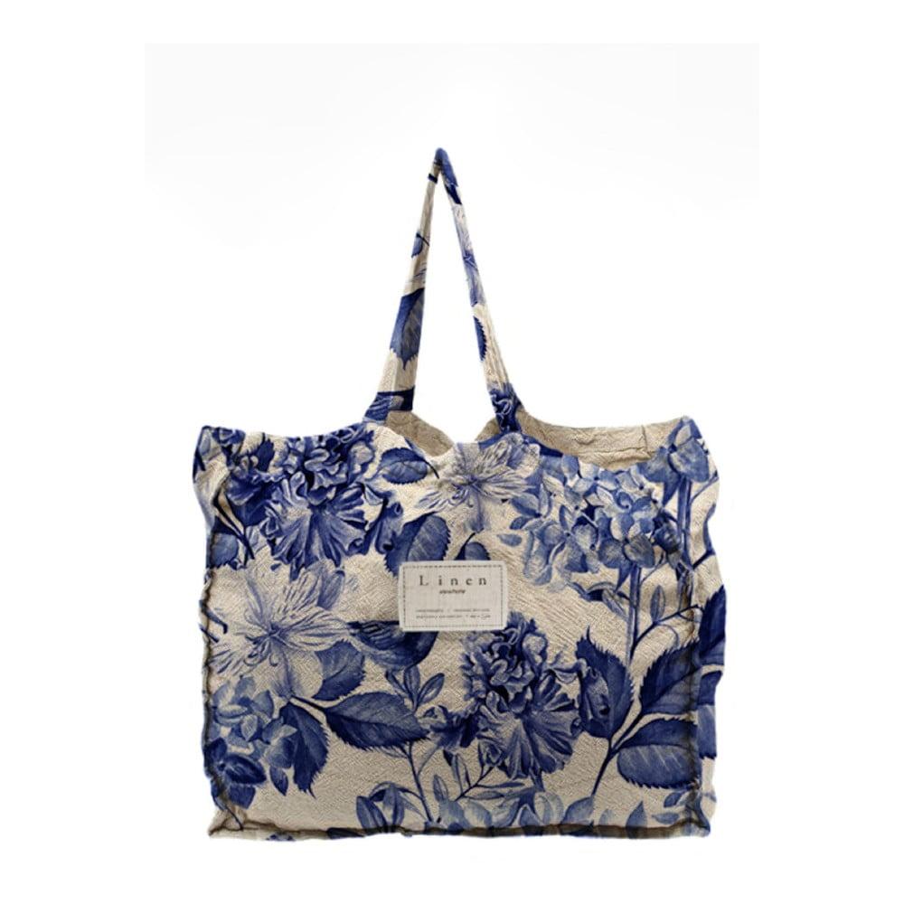Látková taška Linen Couture Blue Flowers, šírka 50 cm