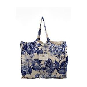 Látková taška Linen Blue Flowers, šírka 50 cm