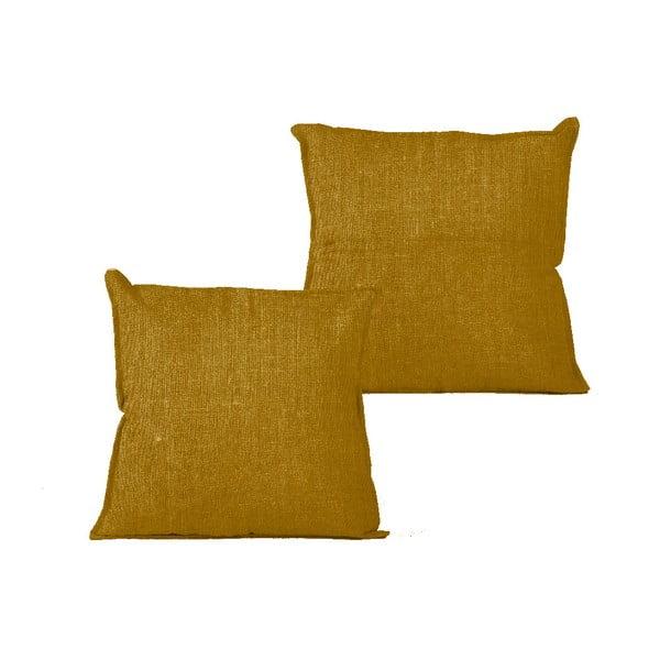 Obliečka na vankúš Linen Mustard, 45×45 cm