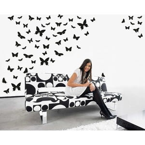 Samolepka na stenu Motýlí raj, čierna