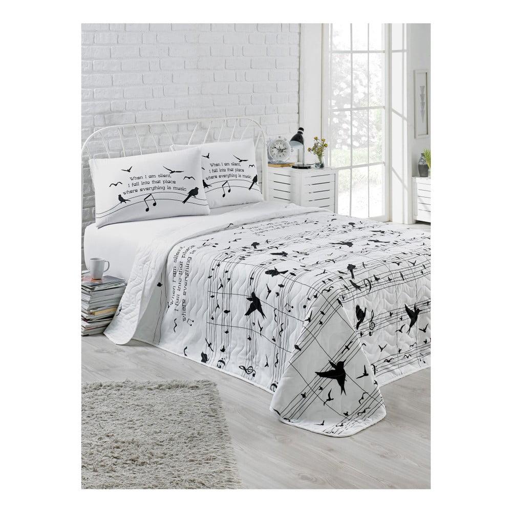 Prešívaný pléd na dvojlôžko a 2 obliečky na vankúš Kimberle, 200 × 220 cm