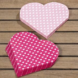 Sada 24 ružových obrúskov Boltze Heart
