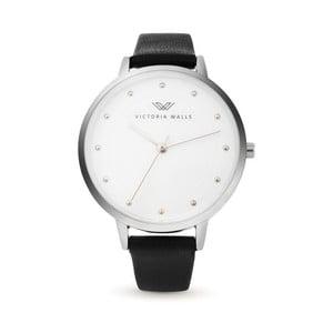 Dámske hodinky s čiernym koženým remienkom Victoria Walls Mist