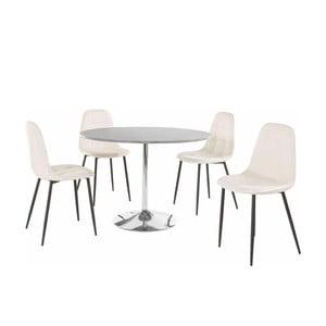 Sada okrúhleho jedálenského stola a 4 bielych stoličiek Støraa Terri Concrete