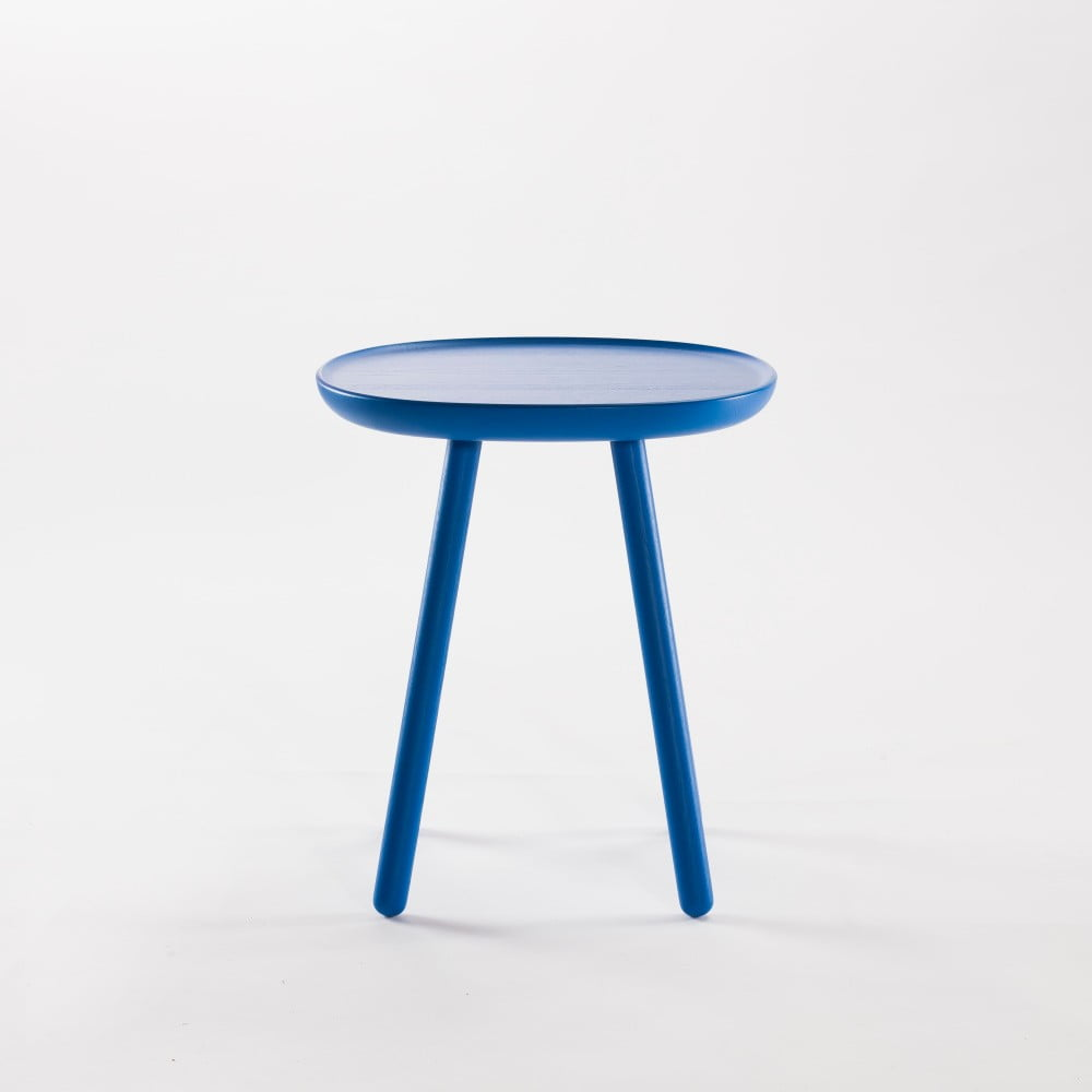 Modrý odkladací stolík z masívu EMKO Naïve Small, ø 45 cm
