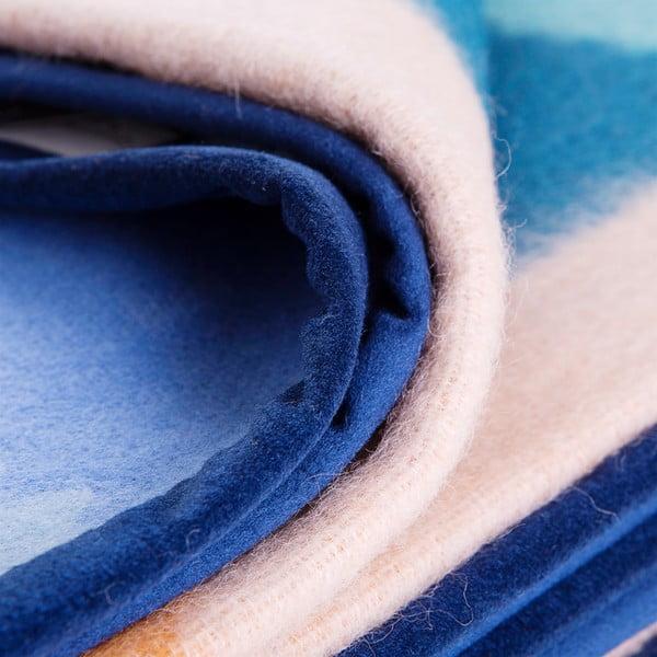 Vlnená prikrývka Emilia 210x260 cm, modrá