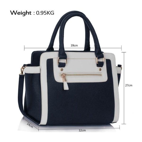 Bielo-modrá kabelka L & S Bags Bella Navy & White