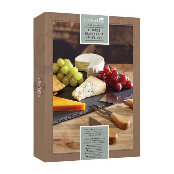 Sada nožov na syr a bridlicovej dosky Kitchen Craft, 35x25 cm