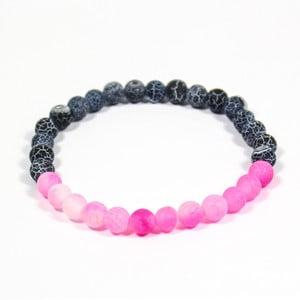 Sivo-ružový náramok z prírodných minerálov s achátom Yogaly Agate