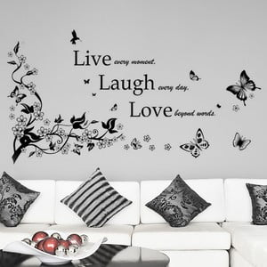 Samolepka na stenu Ži, smej sa, miluj