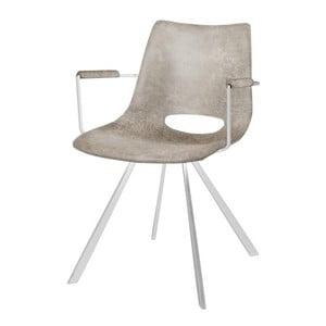Sivá jedálenská stolička s bielym podnožím a opierkami Canett Coronas