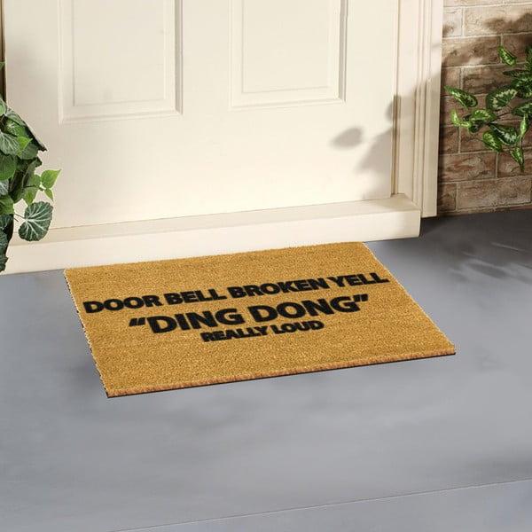 Rohožka z prírodného kokosového vlákna Artsy Doormats Yell Ding Dong, 40×60 cm