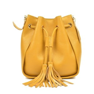 Žltá kožená kabelka Carla Ferreri Jessie