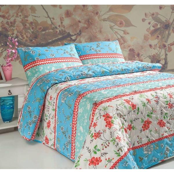 Sada prešívanej prikrývky na posteľ a 2 vankúšov Double 409, 200x220 cm