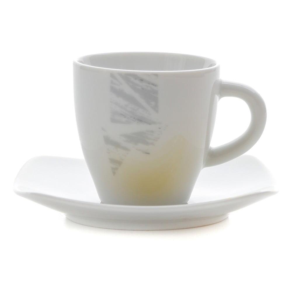 Sada 6 porcelánových hrnčekov na kávu s tanierikmi Kasanova Moris Mustard