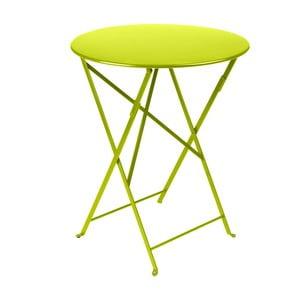 Limetkovozelený skladací kovový stôl Fermob Bistro