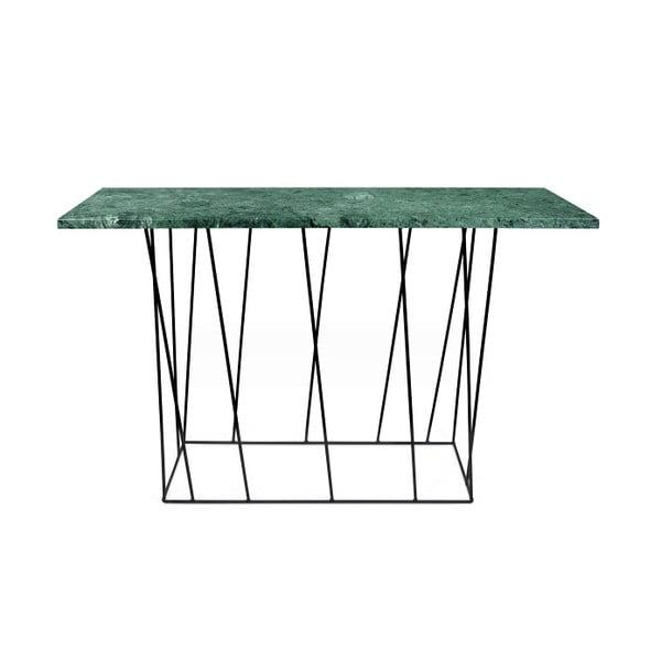 Zelený mramorový konzolový stolík s čiernymi nohami TemaHome Helix