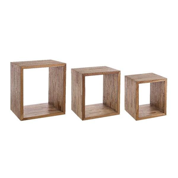 Sada 3 políc z recyklovaného dreva Bizzotto Alvin