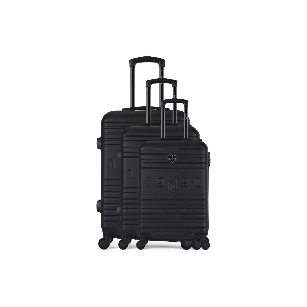 Sada 3 čiernych cestovných kufrov na kolieskach GENTLEMAN FARMER 1990 Valises