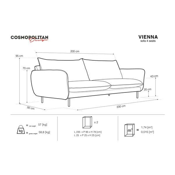 Svetlosivá štvormiestna pohovka Cosmopolitan Design Vienna