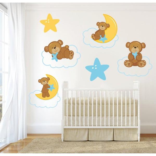Dekoratívna samolepka na stenu Medvedíky na obláčiku