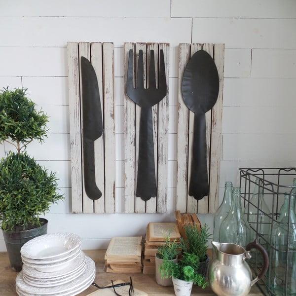 Sada 3 nástenných dekorácií Country Kitchen