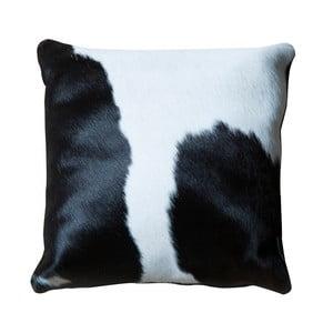 Vankúš z pravej kože Pipsa Black & White, 45×45 cm