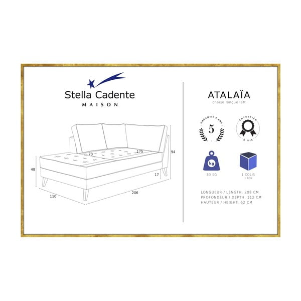 Púdrovoružová leňoška s krémovým lemovaním Stella Cadente Maison Atalaia, pravá strana