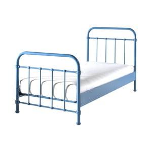 Modrá kovová detská posteľ Vipack New York, 90 × 200 cm