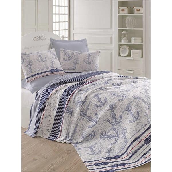 Modro-sivá ľahká prikrývka cez posteľ Capa Blue, 200x235cm