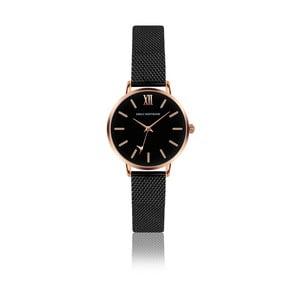 Čierne dámské hodinky s remienkom z antikoro ocele zlata Emily Westwood Estrella