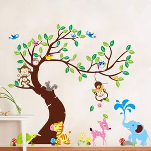 Sada samolepiek Ambiance Tree, Monkeys and Elephant