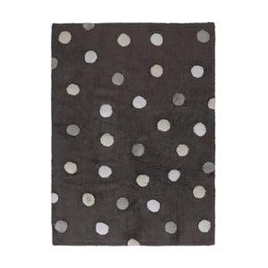 Tmavosivý bavlnený ručne vyrobený koberec so sivými bodkami Lorena Canals Polka, 120 x 160 cm