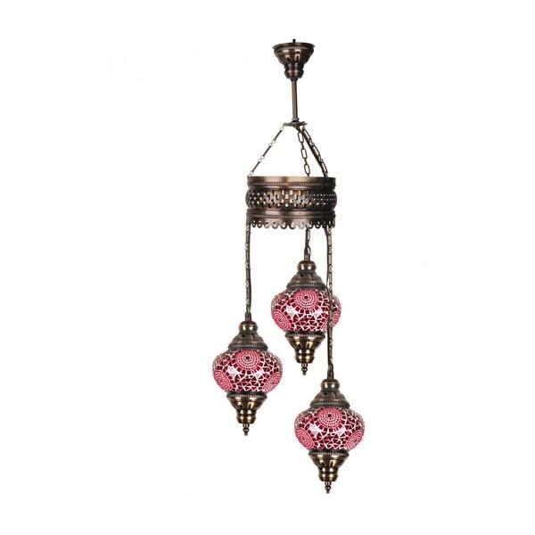 Sklenená ručne vyrobená závesná lampa Three Kholos, ⌀ 13 cm