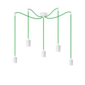 Biele závesné svietidlo s 5 zelenými káblami Bulb Attack Cero