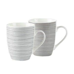 Sada 2 prúžkovaných porcelánových hrnčekov Galzone